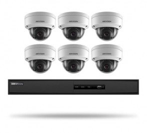 Hikvision I7608N2TA 8-Channel 5MP NVR with 2TB 2MP Outdoor Dome Cameras