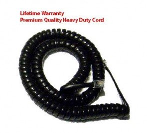 Premium High Quality Telephone Handset Cord Heavy Duty 4 Conductor 12-ft BLACK by TeleDirect
